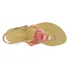 Capri Bijoux - Infradito Gioiello ALITE donna in pelle colore rosae cuoio