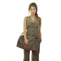 MySkin - Borsa intreccio ZIP donna in pelle intrecciata tinta fango