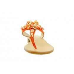 Capri Bijoux - Infradito Gioiello MOLDAVIA donna in pelle colore arancio e cuoio