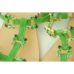 Capri Bijoux - Sandalo Gioiello ISCHIA donna in pelle verde e cuoio