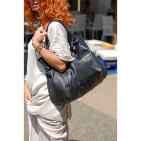 StileVivo by Arianna La Porta - Borsa Sacca Lerv donna in pelle nera