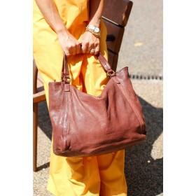 StileVivo by Arianna La Porta - Borsa Sacca Brown donna in pelle stropicciata