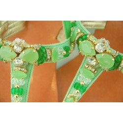 Capri Bijoux - Infradito Gioiello ALTEA donna in pelle colore verdee cuoio