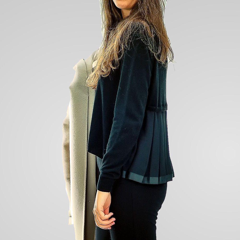 Eklè - Maglia Fuji donna con plisset colore blu
