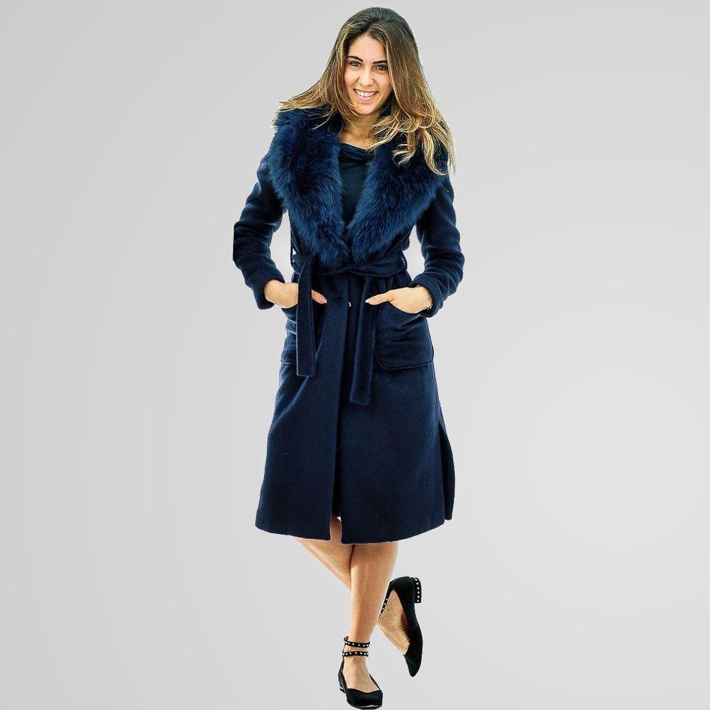 Giulia Valli - Cappotto Major donna con collo in volpe blu