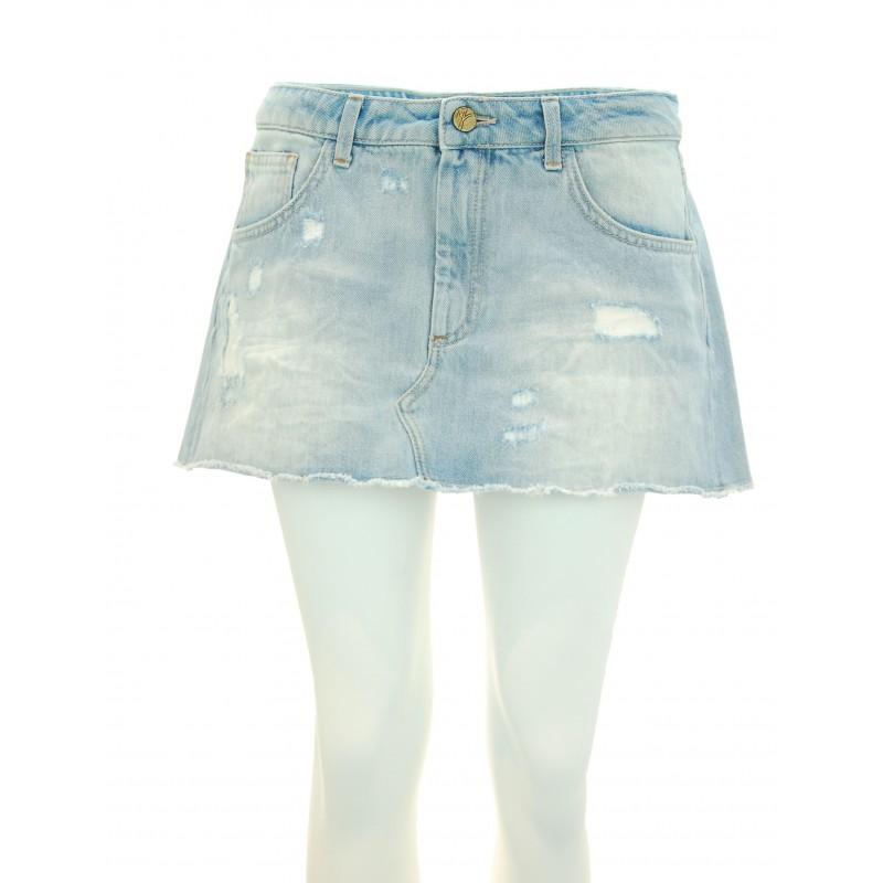 Manila Grace - Minigonna jeans Sandy donna in denim chiaro