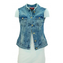 Manila Grace - Smanicato jeans Lady donna in denim chiaro