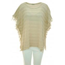 She Wise - Poncho tricot donna in filo di colore beige
