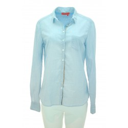 Manila Grace - Camicia minirighe Joel donna in cotone a righe azzurre
