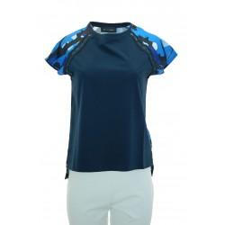 Giulia Valli - T-shirt stampa dietro Lers donna in cotone di colore blu o corallo