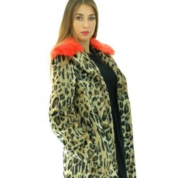 Mariella Rosati - Cappotto maculato Vincent donna in ecopelliccia con collo arancio