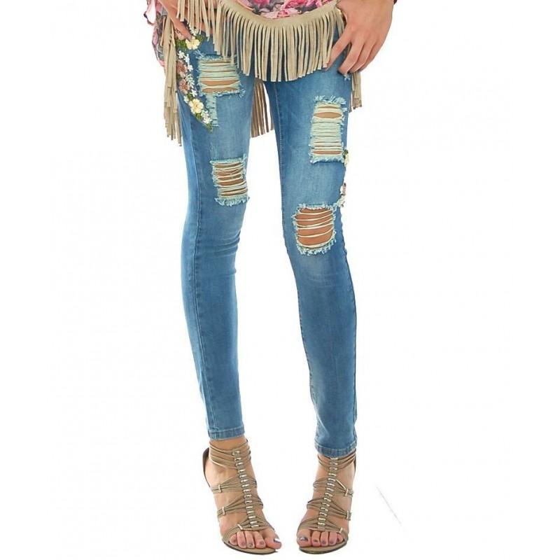 No Secrets - Jeans ricamo Margherita donna in denim elasticizzato con strappi