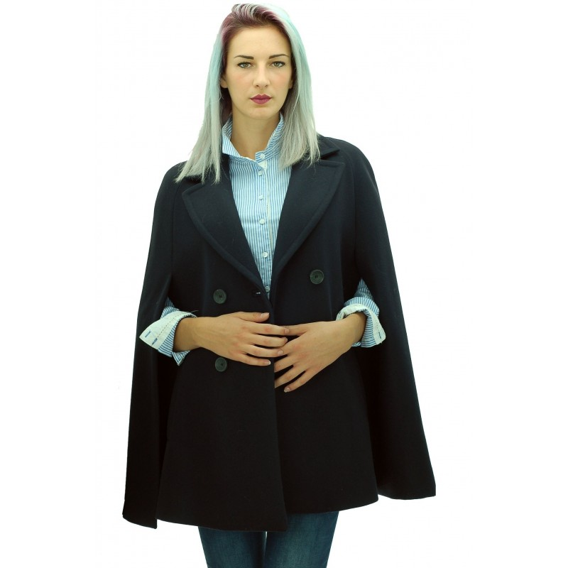 Mariella Rosati - Mantella Tabata donna in panno di lana blu