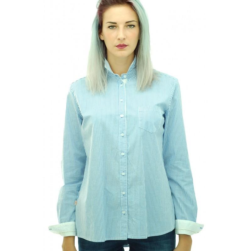 Manila Grace - Camicia a righe Demi donna in cotone azzurra e bianca