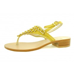 Capri Bijoux - Infradito Gioiello APE donna in pelle colore giallo e cuoio