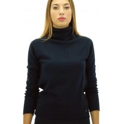 Ottod'Ame - Maglia lupetto in lana Sissi donna blu e marrone con bordo lamè