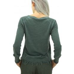 Mariella Rosati - Maglia frange Tricot donna in lana colore grigio