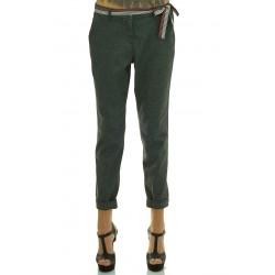 Mariella Rosati - Pantalone Twist donna grigio con cintura nastro