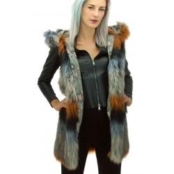 MySkin - Gilet ecopelliccia lungo Cortina donna con cappuccio e tasche