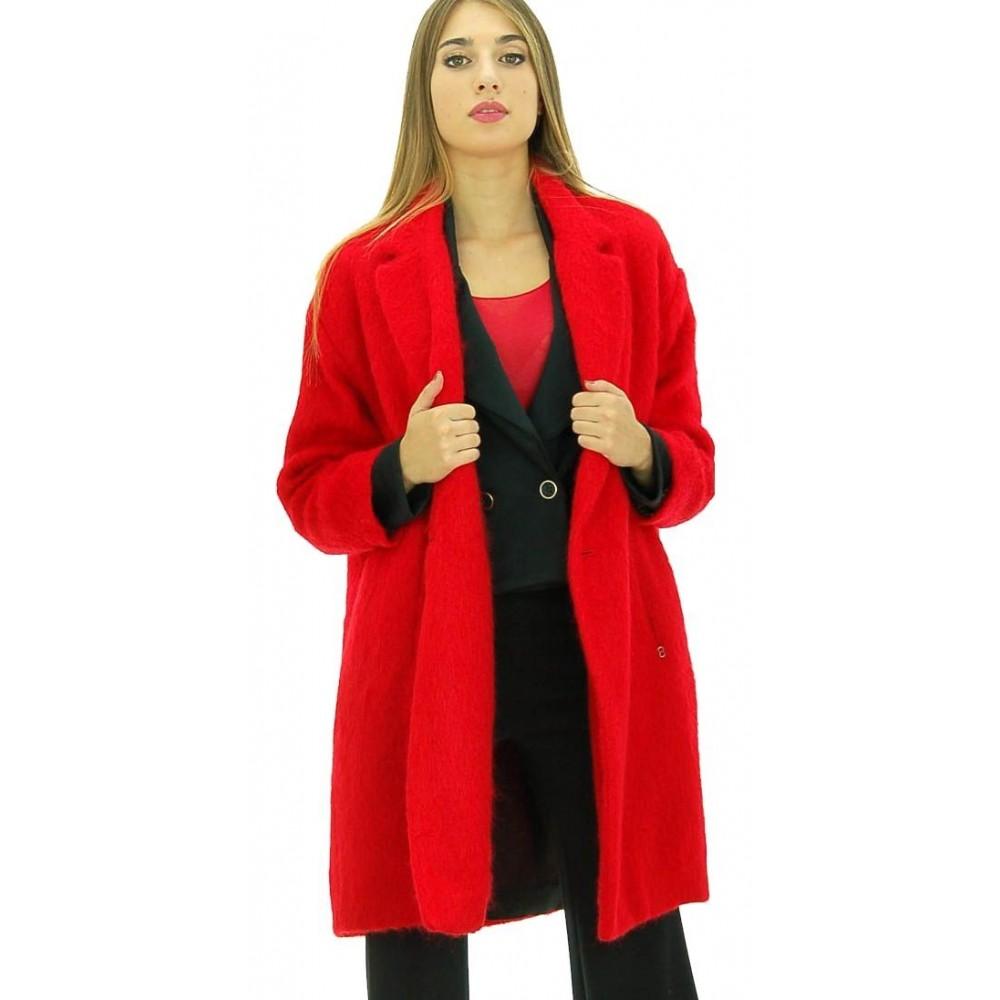 Ottod'Ame - Cappotto ampio Peonia donna in morbida lana rossa