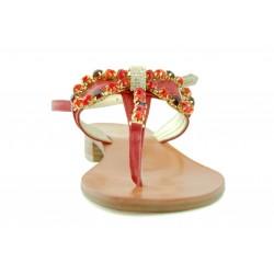 Capri Bijoux - Infradito Gioiello SPEZIA donna in pelle colore rosso e cuoio