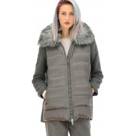Mariella Rosati - Giaccone cappuccio Sophia donna in lana e piuma