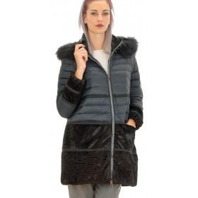 Mariella Rosati - Piumino Lungo Esilio donna con cappuccio bordato in volpe